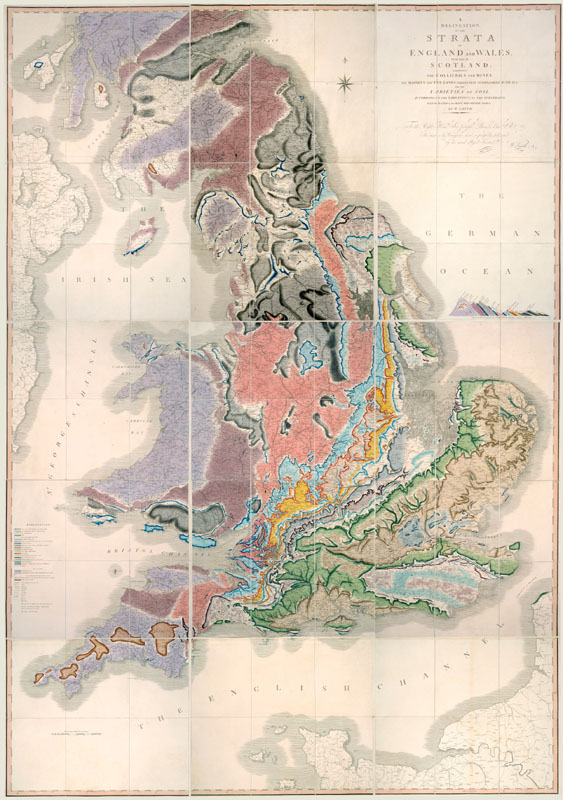 Delineation of Strata of England and Wales (1815) by William Smith.  1815
