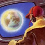 Space traveller watches Earth receding.   circa 1950
