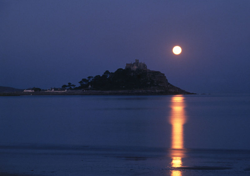 Moonrise over St Michael's Mount, Cornwall.   circa 1970s