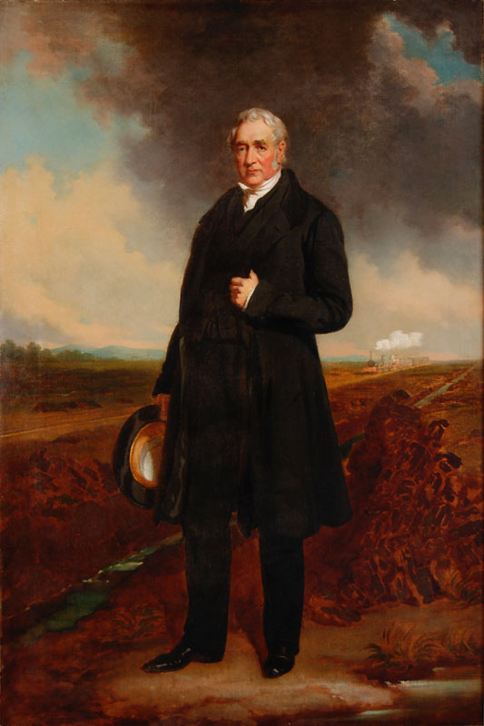 George Stephenson (1781-1848), English civil and mechanical engineer, pioneer of rail transport.   circa 1840s