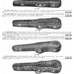 Violin cases sold by the Wurlitzer company with prices ranging from 12 dollars fifty, to sixty dollars for an alligator skinned, silk lined version in which any mobster would be proud to transport his Tommy gun.  1924