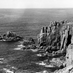 A spectacular aerial view of Land's End, on the furthest western tip of Cornwall.       Date: 1970
