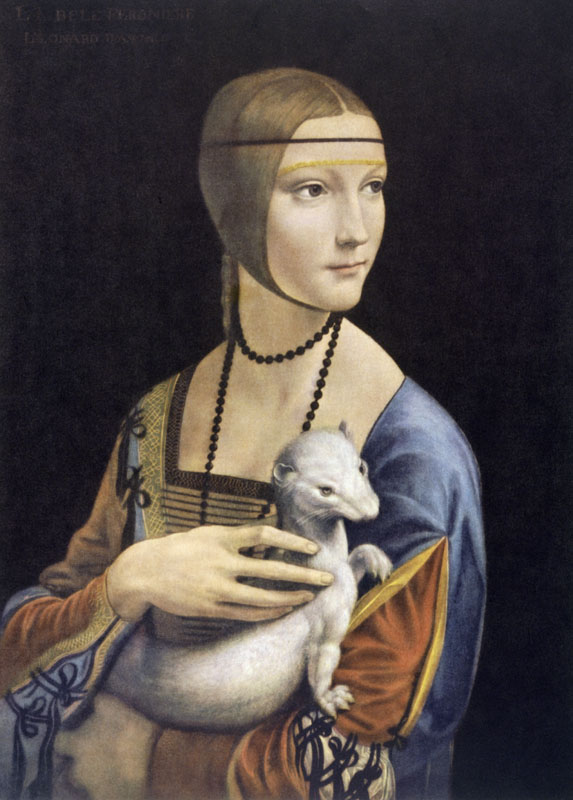 Leonardo da Vinci, 15.4.1452 - 2.5.1519, painting, Lady with an Ermine (portrait of Cecilia Gallerani), 1483-1486, oil on panel, 55.2 x 40.3 cm.   1483-1486