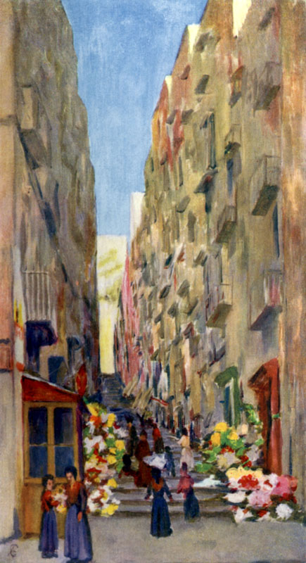 Il Gridone, leading up from the Via Chaia, a popular flower market in Naples, Italy.   1904