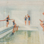 The swimming bath of the ill-fated passenger liner RMS Titanic, depicting bathers enjoying the exercise.    1912
