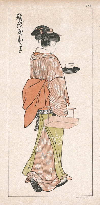 Japanese servant at an inn.   (1 of 2)     early 19th century