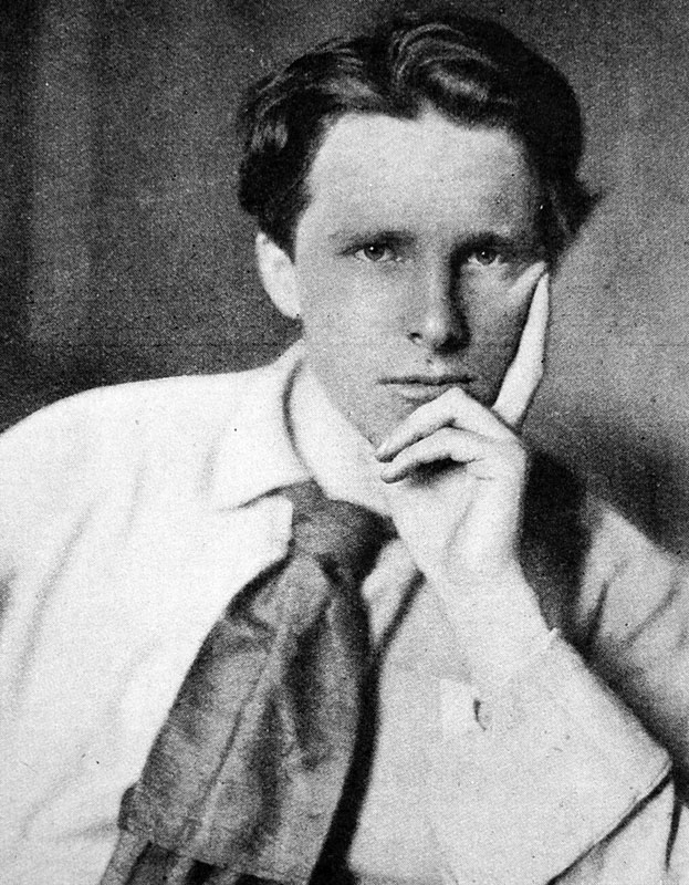 Photographic portrait of Rupert Chawner Brooke (1887-1915), the English poet.  circa 1915