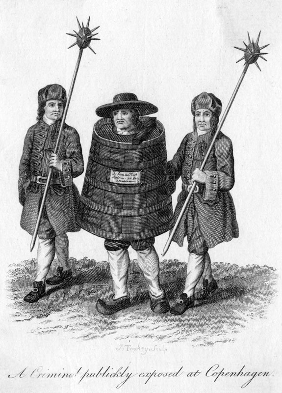 A criminal publicly exposed at Copenhagen, made to walk through the streets in a barrel with a guard on either side of him.   late 18th century