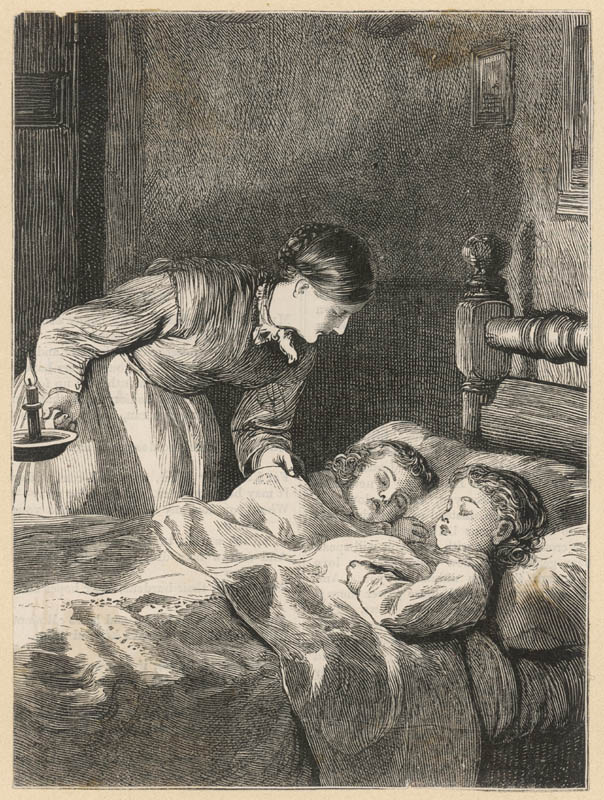 A mother checks on her two sleeping children by candlelight while they sleep.   circa 1870