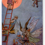 Enchanting illustration showing a small child climbing a ladder to unlock a small door n the moon while a group of fairies and elves hover around in the starlit sky.     Date: c.1920