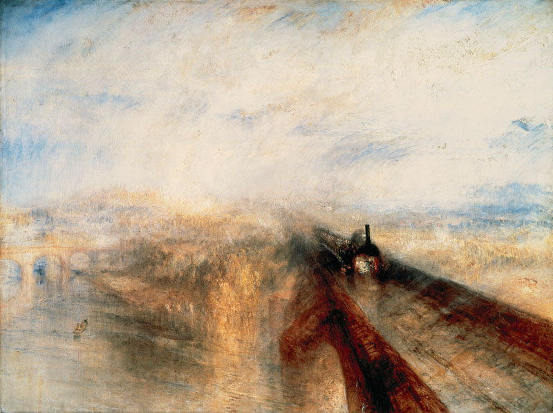 J M W Turner (1775-1851). British Romantic landscape painter. His work is regarded as a Romantic preface to Impressionism.  Rain, Steam and Speed  The Great Western Railway (1844). National Gallery, London.  1844