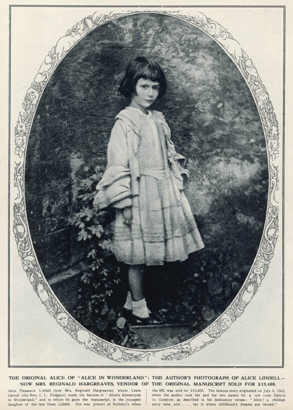 Photograph taken by Lewis Carroll (the Rev. C.L. Dodgson) of the original 'Alice' of 'Alice in Wonderland' - Alice Liddell, c.1862.  circa 1862