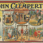 Undated coloured poster for 'Siberian death defier and Aviator baffling' John Clempert featuring illustrations of his tricks and performances. HPF/5B/18  early 20th century