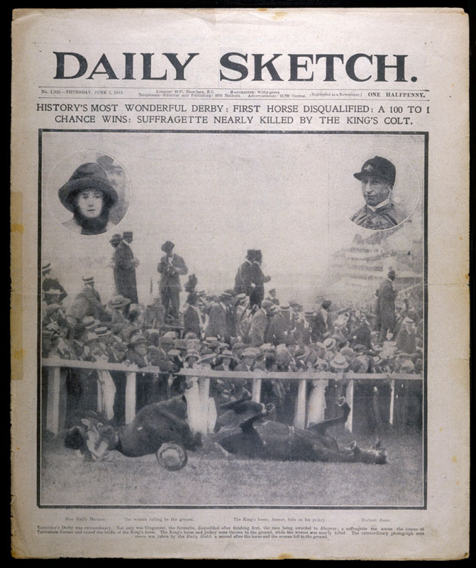 Headline showing the collision  between Emily Davison and the  King's Horse at the Epsom  Derby.      Date: June 5th 1913