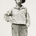 Portrait of Walt Whitman (1819-1892), American poet, aged 36 years.   circa 1855