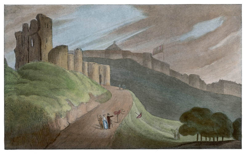 Scarborough, Yorkshire:  a lady's parasol is blown away  by the wind after a visit to the ruined castle      Date: 1813