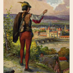 On 26 June, St John's and St Paul's Day at 7 o'clock, the piper reappeared as a grim-faced hunter, holding a fiddle.' From a series of postcards published in Germany     Date: circa 1912