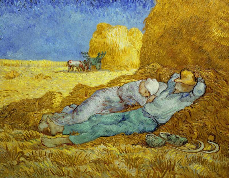 La Meridienne or La Sieste (after Millet), 1889-1890.  Gogh, Vincent van (1853-1890), Oil on canvas, 73 x 91 cm.   1890