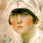 Head and shoulders portrait of a First World War nurse, English School.      Date: circa 1915