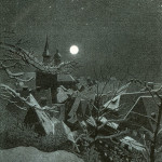 Winter scene over the rooftops of a snow covered village with  full moon    1898