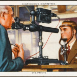 An invention by two doctors:  the eye print; recording the  pattern made by veins on the  retina, which differs for  every individual. Science  aiding the criminologist...     Date: 1936