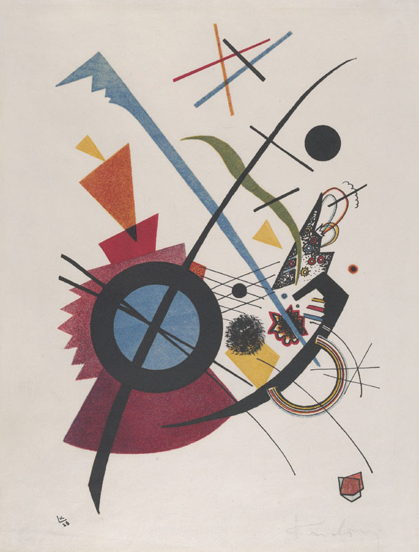 Violet, by Vasily Kandinsky, 1923, Russian French Expressionist print, lithograph. Geometrical elements, circles, arcs, triangles, straight lines and curves, mix with irregular hand drawn forms in this abstract lithograph (BSLOC_2017_5_148)  1923