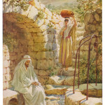 Jesus at Jacob's Well with the woman of Samaria.   circa 1890