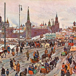 A busy street scene on a winter's day near the Kremlin in Moscow, Russia, with traffic and pedestrians.       Date: early 20th century