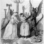 A young (humanised) cat, torn between Good and Evil, represented by a cat angel and a cat devil.  The setting appears to be a rooftop with smoking chimney pots.      Date: circa 1840