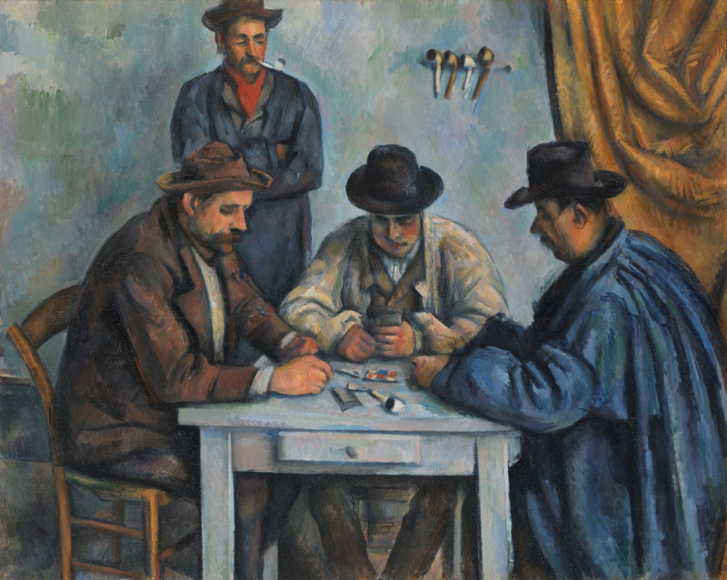 The Card Players, by Paul Cezanne, 1890-92, French Post-Impressionist painting, oil on canvas. This is believed to be the first of five paintings Cezanne made of peasants playing cards (BSLOC_2017_5_19)     Date: