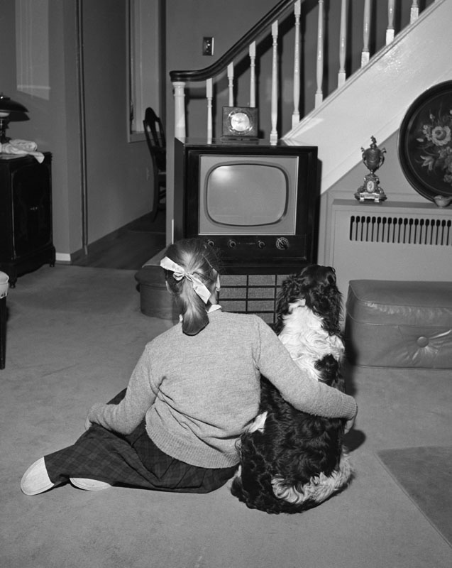 Back view of teenage girl with pony tail watching TV with her dog in living room.   1950s