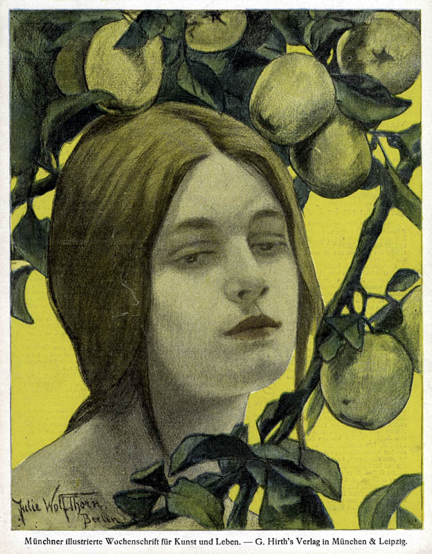 Front cover design for Jugend magazine, depicting a young woman with a dreamy expression on her face, with apples ripening on the branches of a tree.      Date: 1898