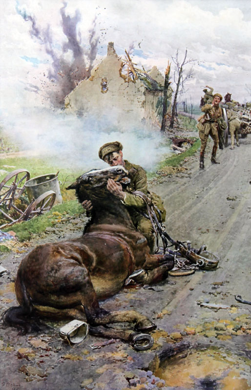 Colour print of the famous picture by Fortunino Matania showing a gunner saying farewell to his dying horse.  The original was painted for the Blue Cross Fund to raise money for the charity during the First World War.       Date: 1916