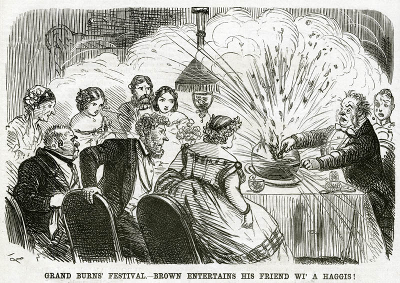 """""""Brown entertains his friends wi' a haggis"""" by stabbing it and splattering them all as they sit around the table on Burns Night !   1859"""