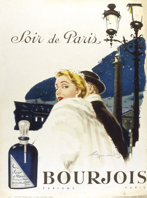 Advertisement for Bourjois Soir de Paris perfume, showing a man and woman in evening dress, out on the town.      Date: 20th century