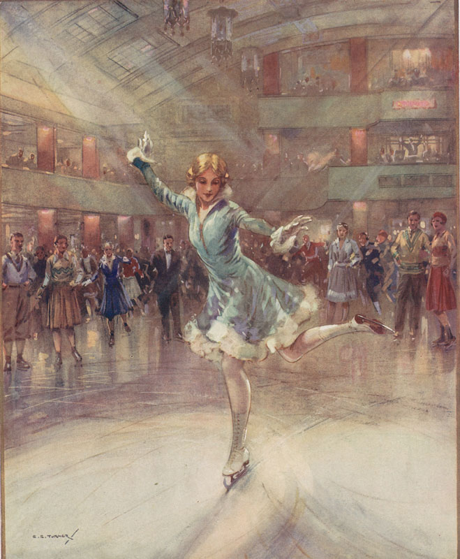 Colour illustration by C.E. Turner depicting the scene inside an ice rink in the 1930s.     Date: 11th November 1931