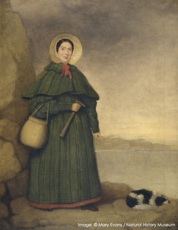 Mary Anning, pioneer fossil collector of Lyme Regis, Dorset. Oil painting by an unknown artist, before 1842. Golden Cap is visible in the background. Held at the Natural History Museum, London.