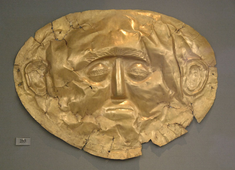 Funerary mask in gold foil embossed. IV Grave Circle A in the Royal Tombs of Mycenae. Dated in the 16th century B.C. National Archaeological Museum. Athens. Greece.