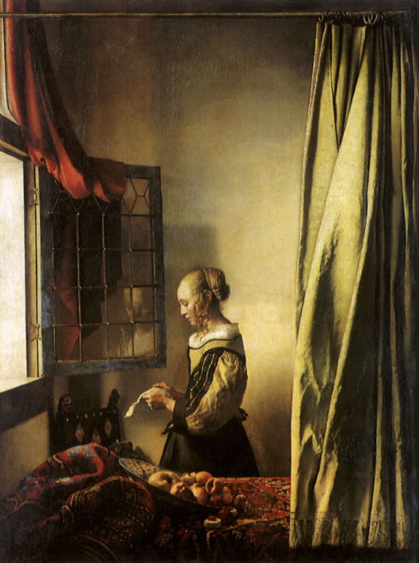 Girl Reading a Letter at an Open Window     Date: 1657